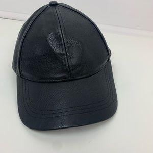H&M Black solid black Faux Leather Baseball cap
